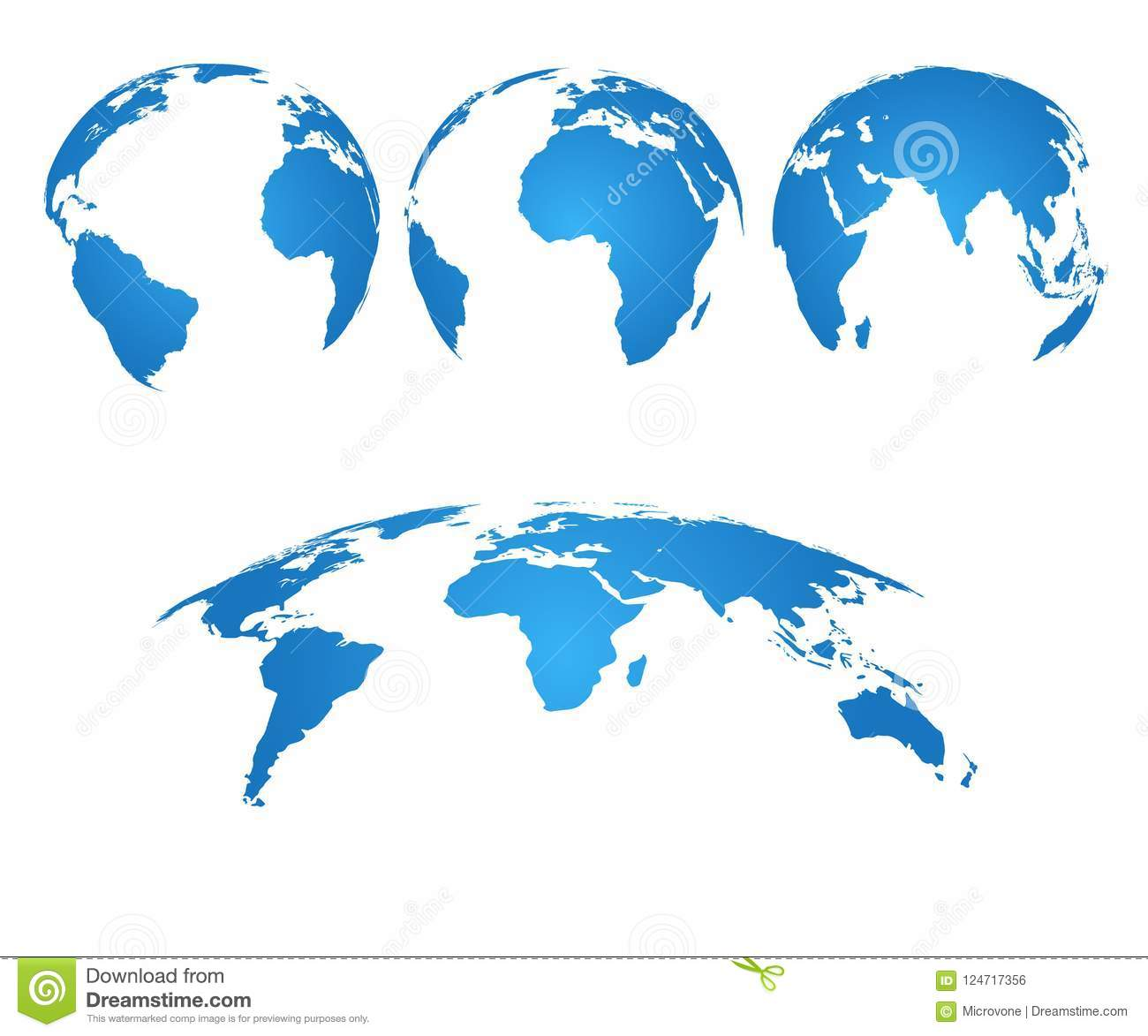 Earth Globe. 3d World Map With Silhouette Continents And Oceans ...