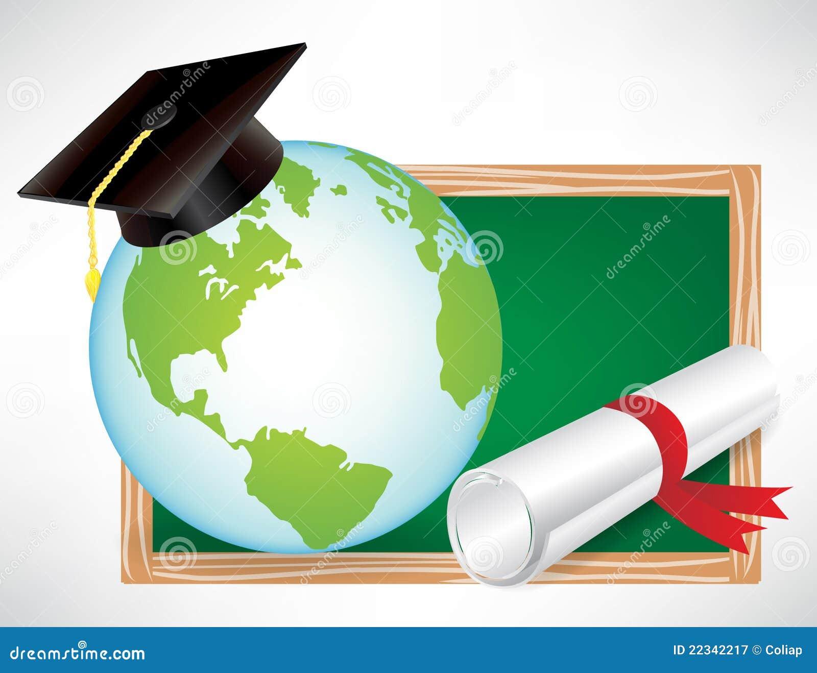 Earth Globe Education Diploma And Cap Royalty Free Stock ...