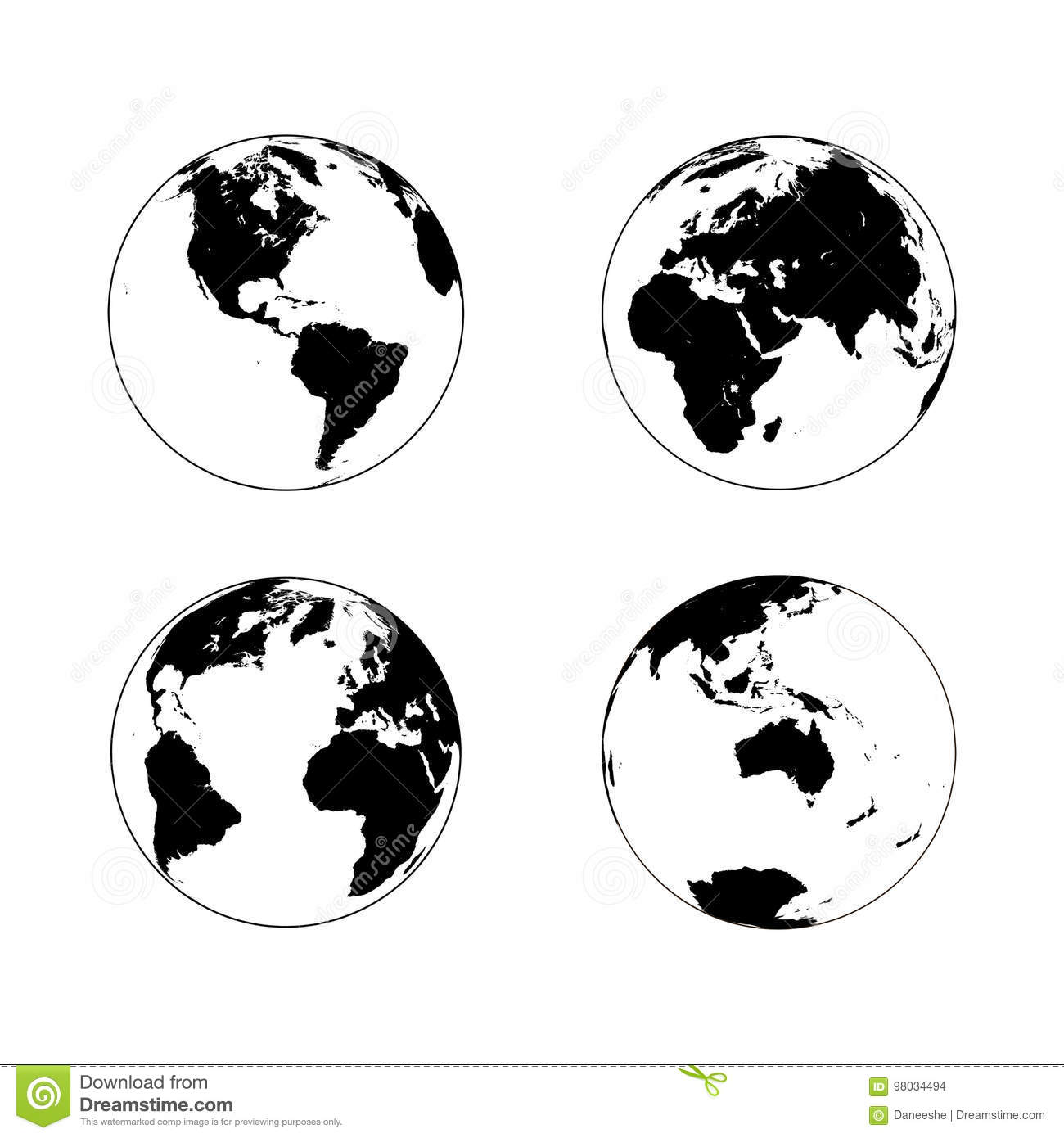 Black earth globe in line art style in four turns on white background north and south america eurasia and africa atlantic australia in rotations