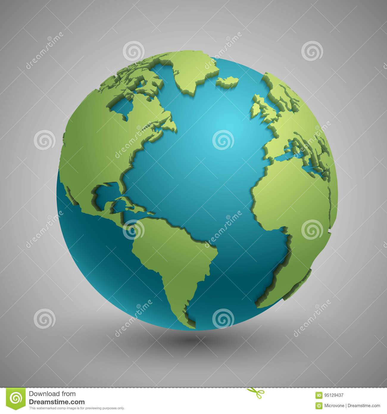 Earth globe with green continents modern 3d world map concept stock download earth globe with green continents modern 3d world map concept stock vector illustration gumiabroncs Gallery
