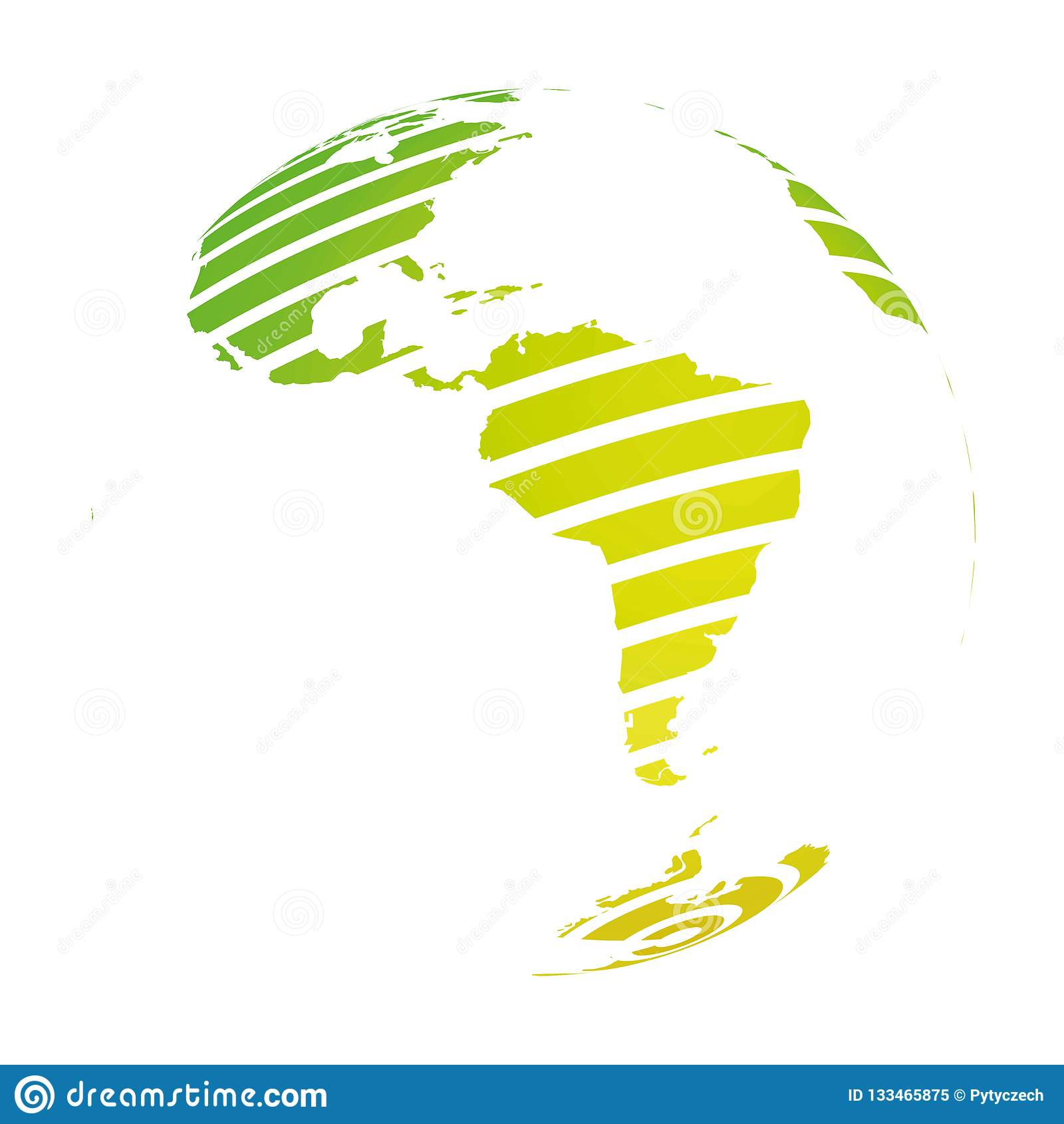 Map Of America 3d Vector.Earth Globe With Green Striped World Land Map Focused On South