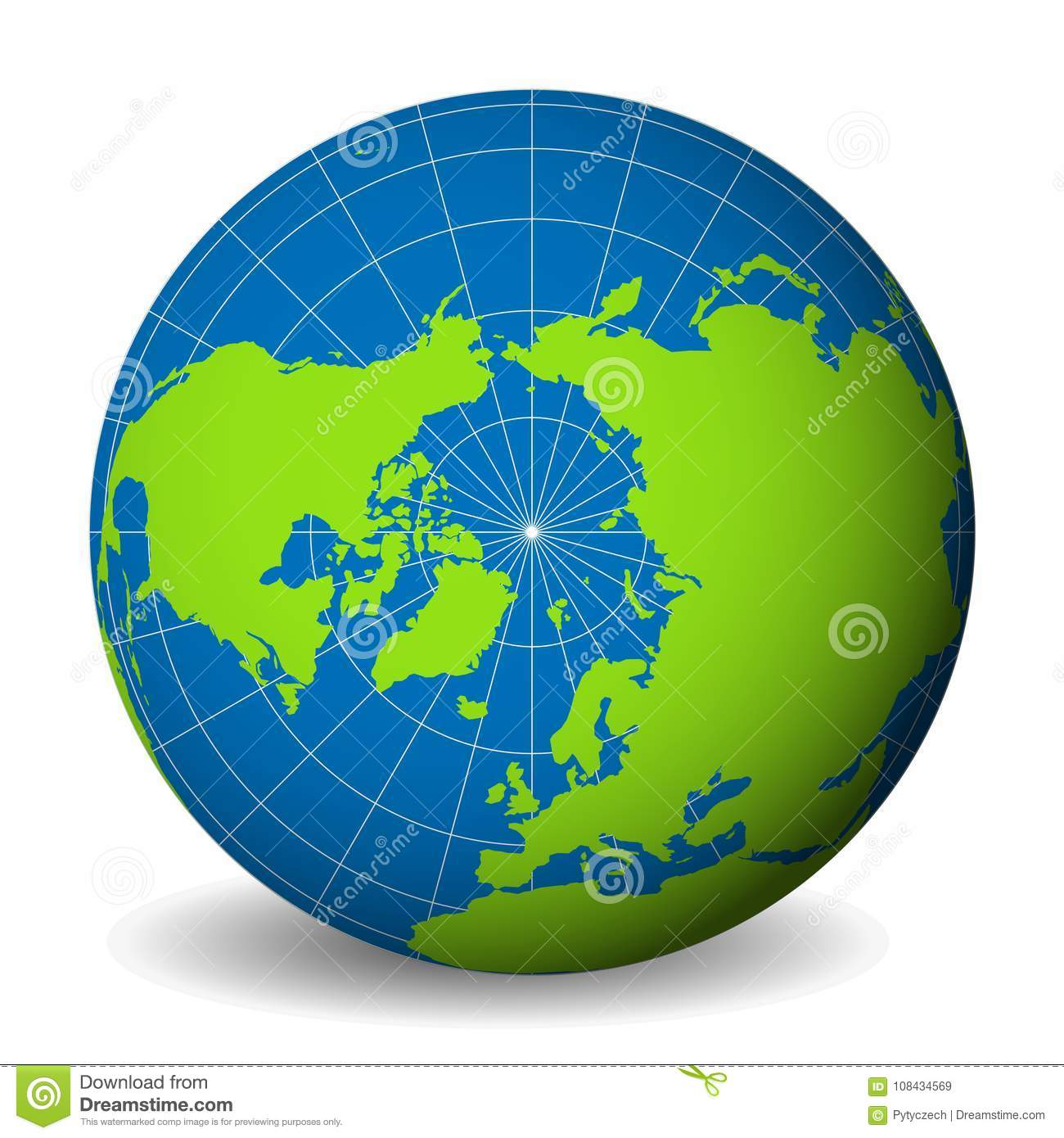 Earth globe with green world map and blue seas and oceans focused on earth globe with green world map and blue seas and oceans focused on arctic ocean and north pole with thin white meridians and parallels gumiabroncs Image collections