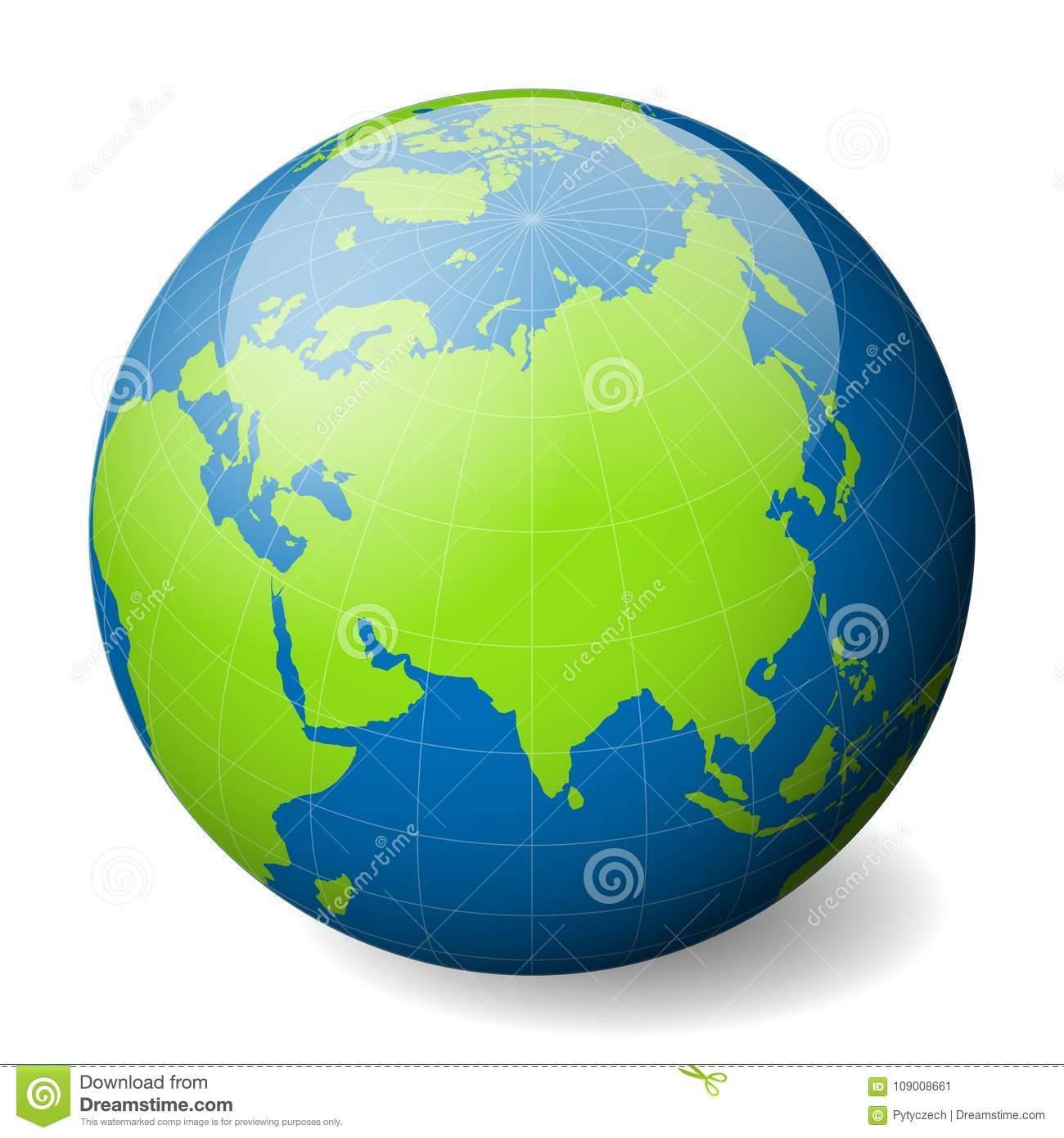 Earth globe with green world map and blue seas and oceans focused on download comp gumiabroncs Gallery