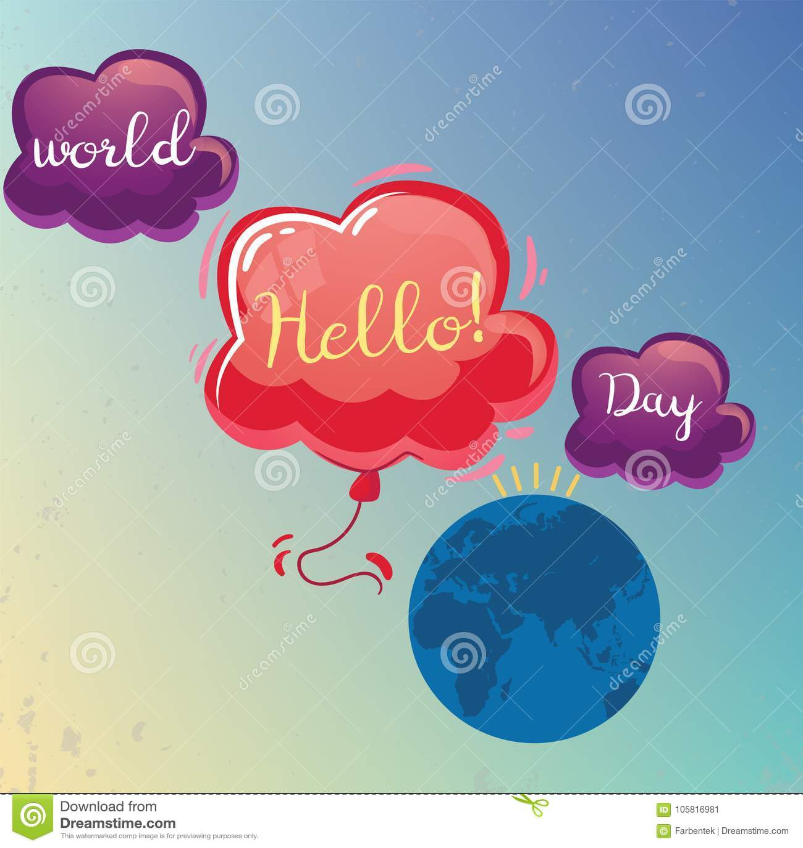 World Hello Day: World Hello Day, 21 November. Stock Illustration