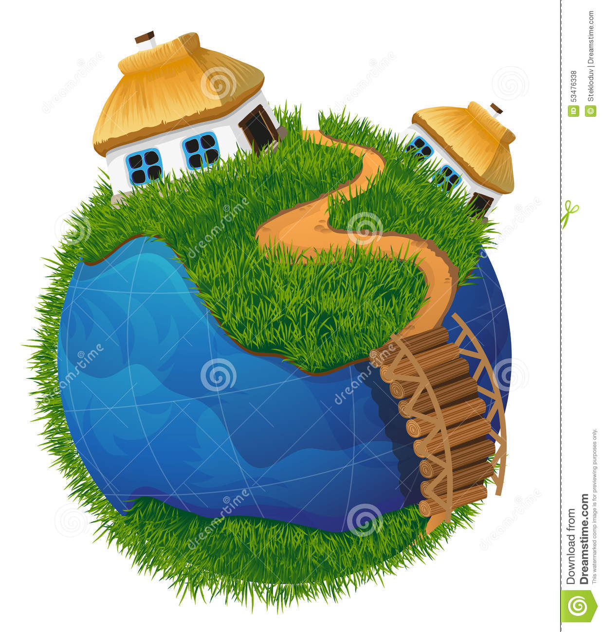 Earth globe with houses stock ...