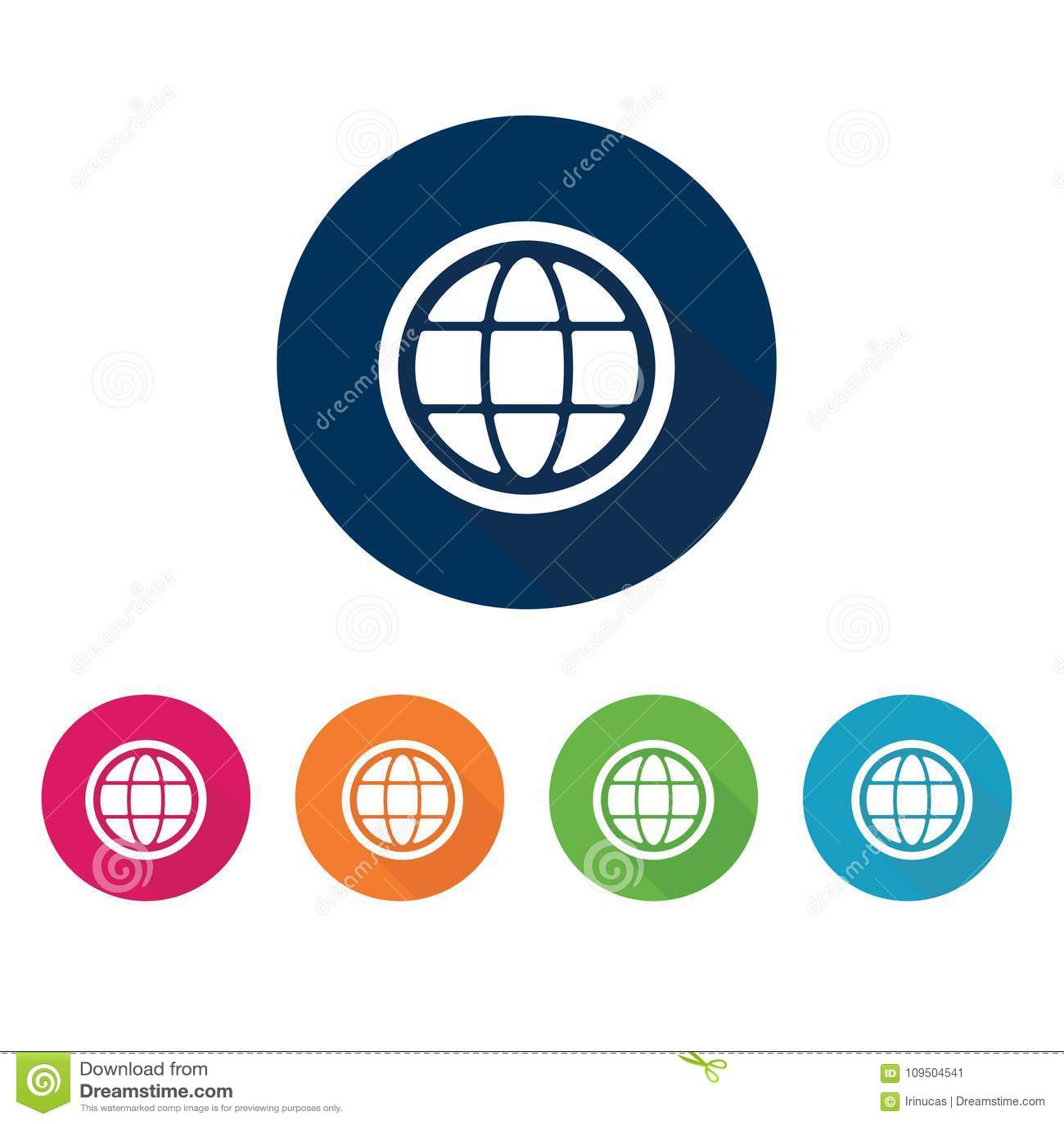 Earth Globe Icon  Vector Internet Symbol  Stock Illustration