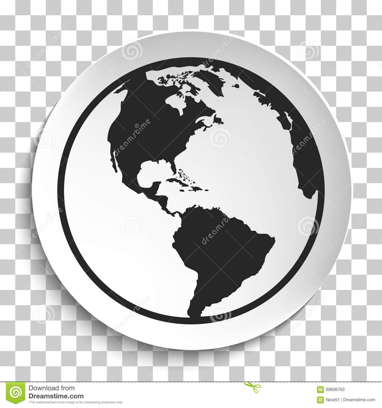 Earth Globe Icon On White Plate. Stock Vector - Image ...