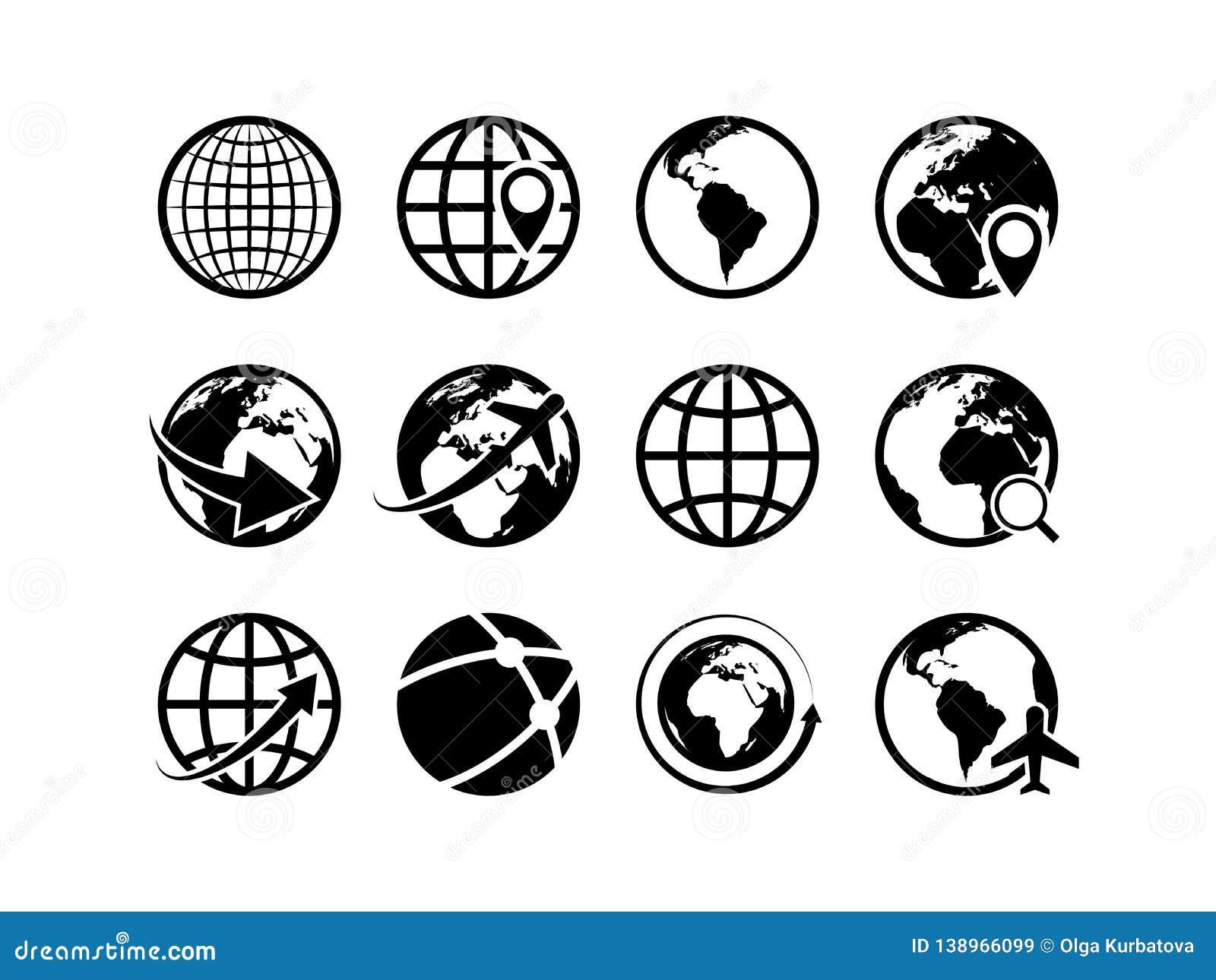 Earth Globe Icons  World Map Geography Internet Global