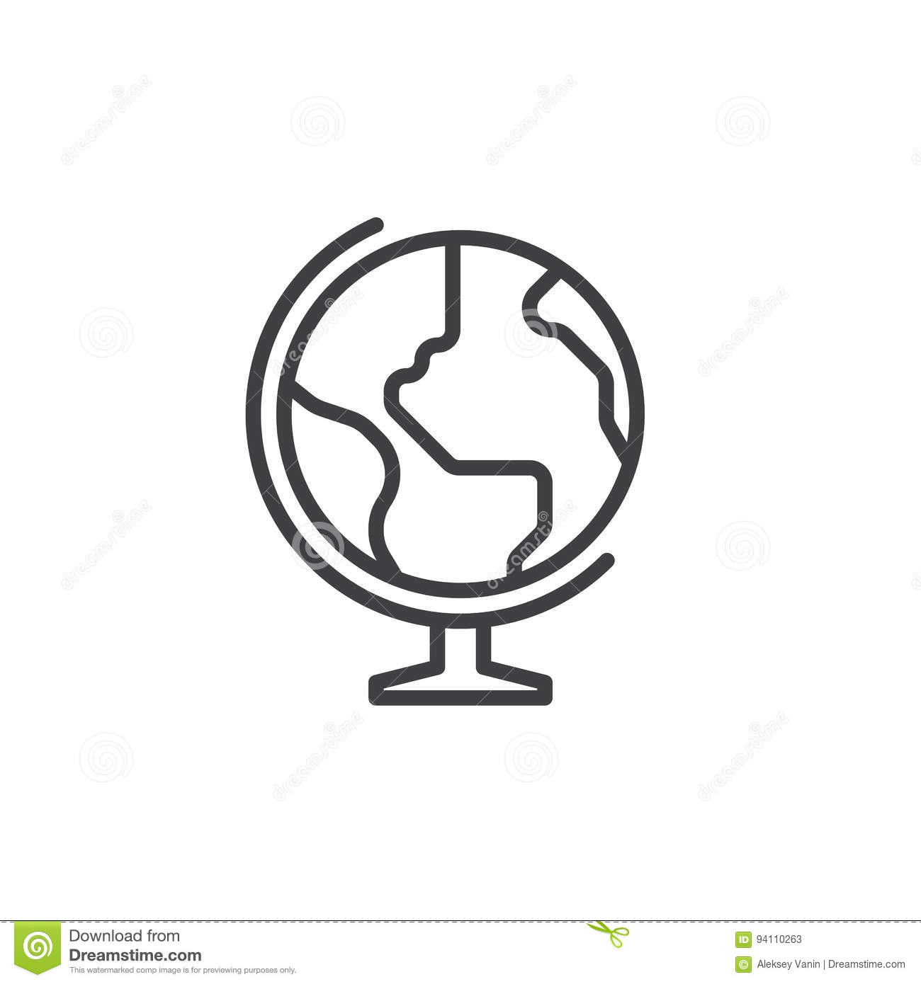 Earth globe line icon, outline vector sign, linear style pictogram isolated on white.