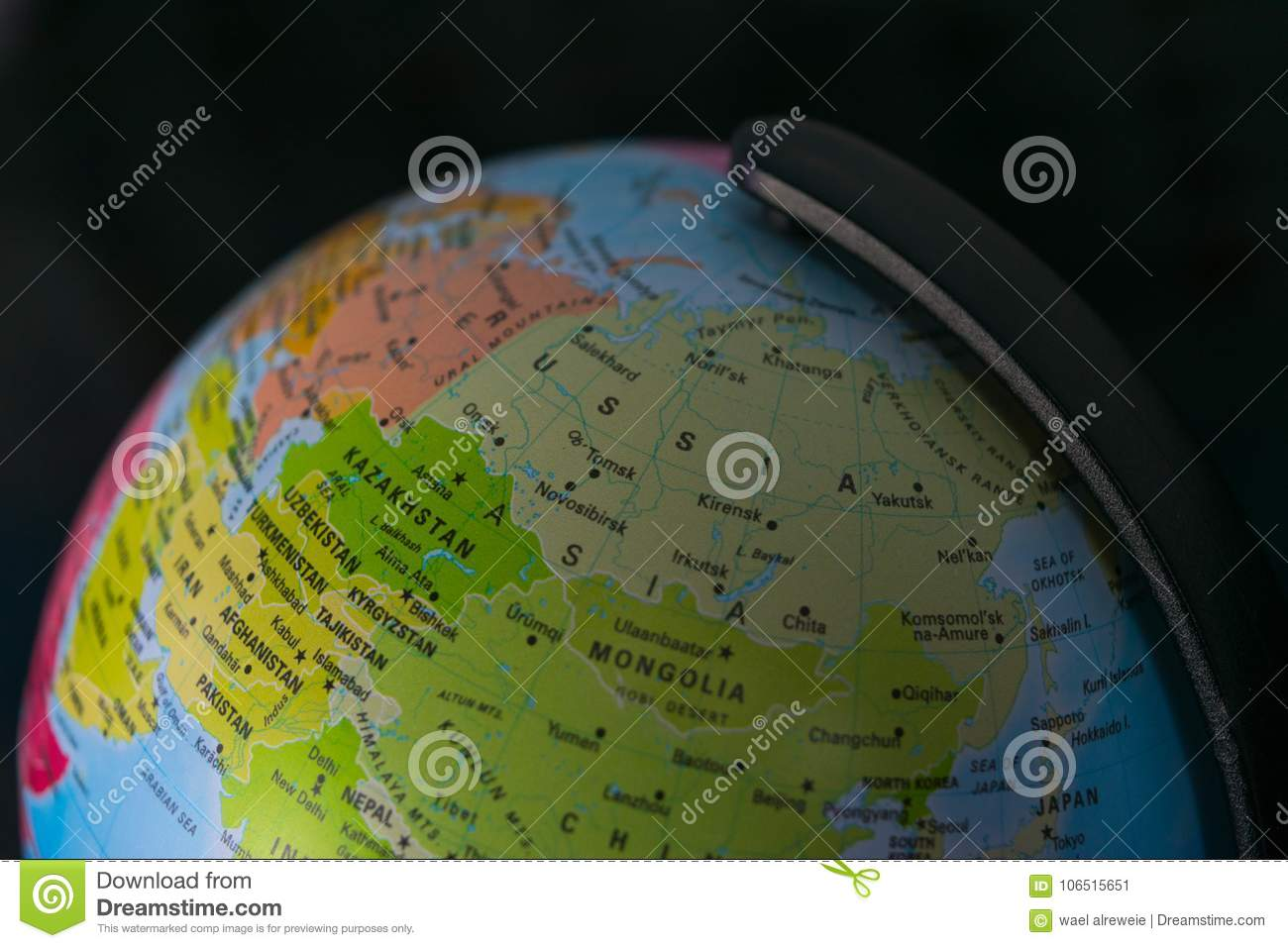 Map Of Canada On Globe.Earth Globe Map With Focus On Asia Russia Canada North Pole Stock