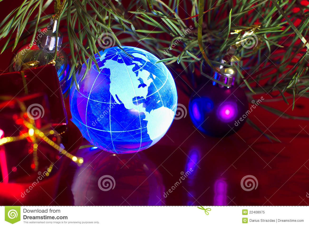 World globe christmas ornaments - Earth Globe North America Christmas Background Royalty Free Stock Photo