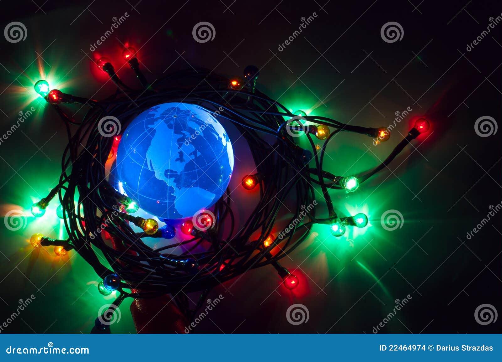 Earth globe North America Christmas background