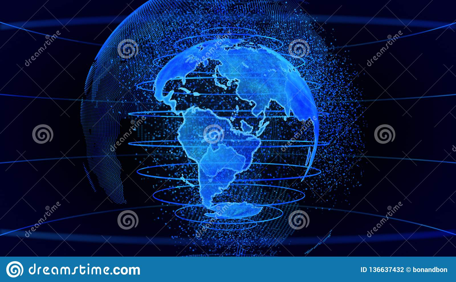 Blue 3D rendering of earth technology, business and communications background.