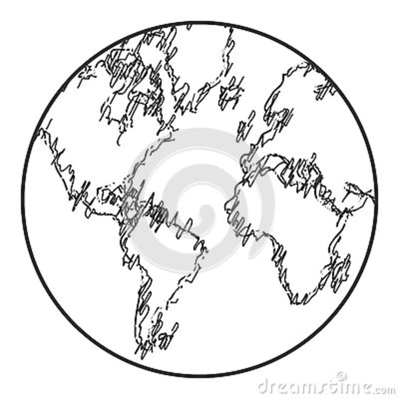 Earth Globe Sketch Style Icon Stock Illustration