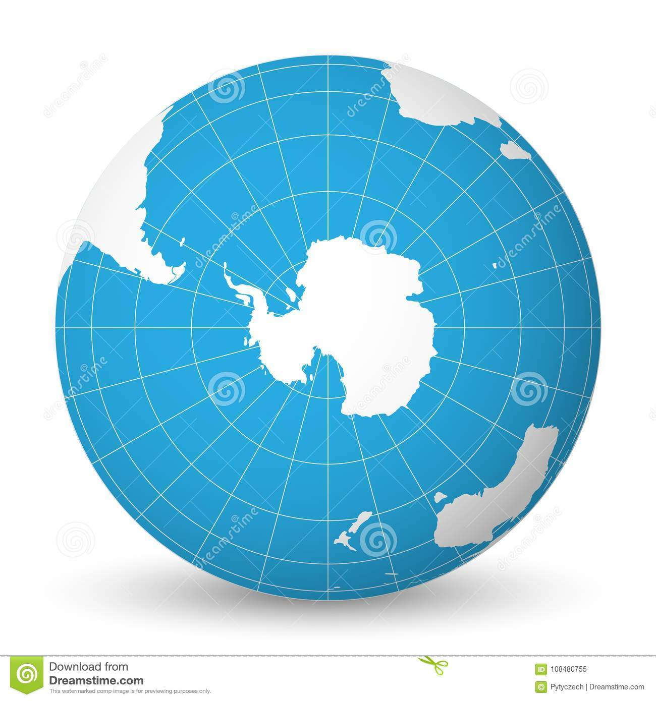 South Pole World Map.Earth Globe With White World Map And Blue Seas And Oceans Focused On