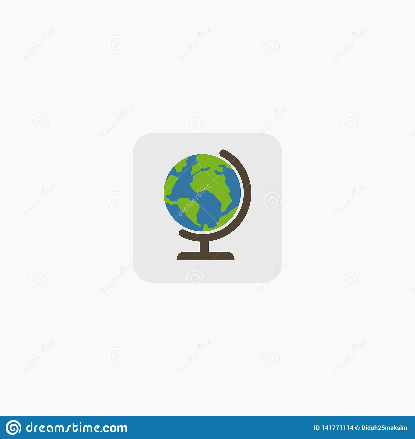 Earth globes isolated on white background. Flat planet Earth icon. Vector illustration. EPS 10