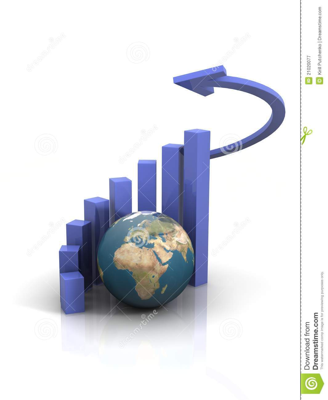 Green Business Graph On Arrow Around Earth Globe Stock Image ...