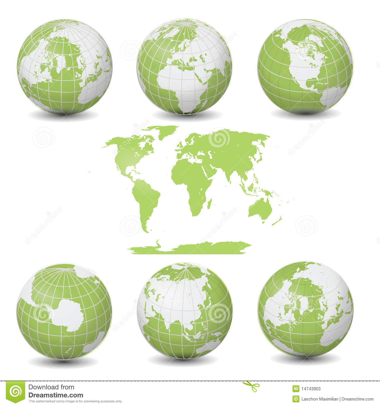 Terra Earth Map.Earth Green Globes Collection With World Map Stock Illustration