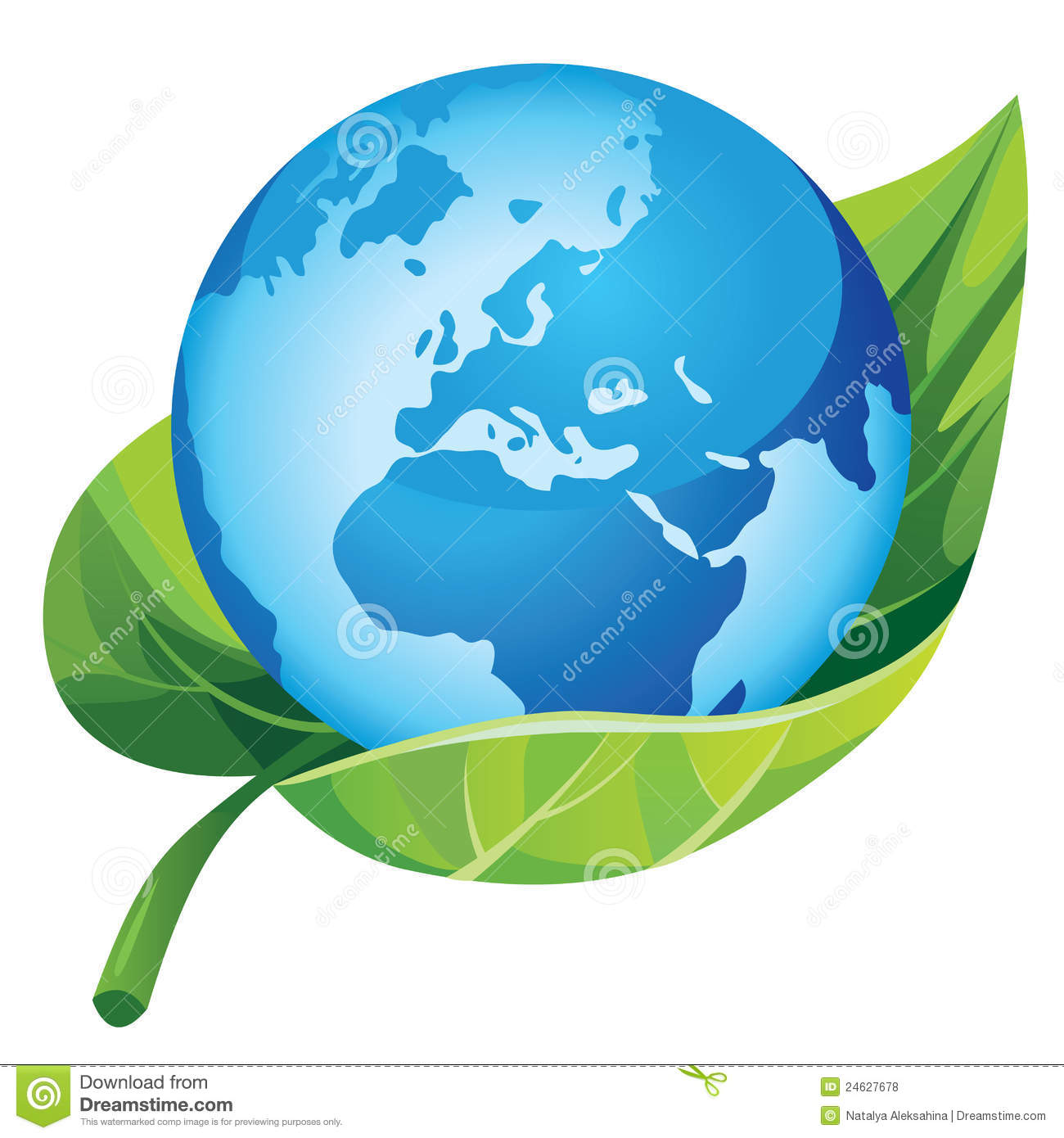 Earth With Green Leaf Royalty Free Stock Photos Image