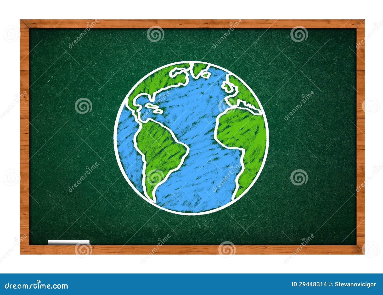 earth on green school chalkboard stock images