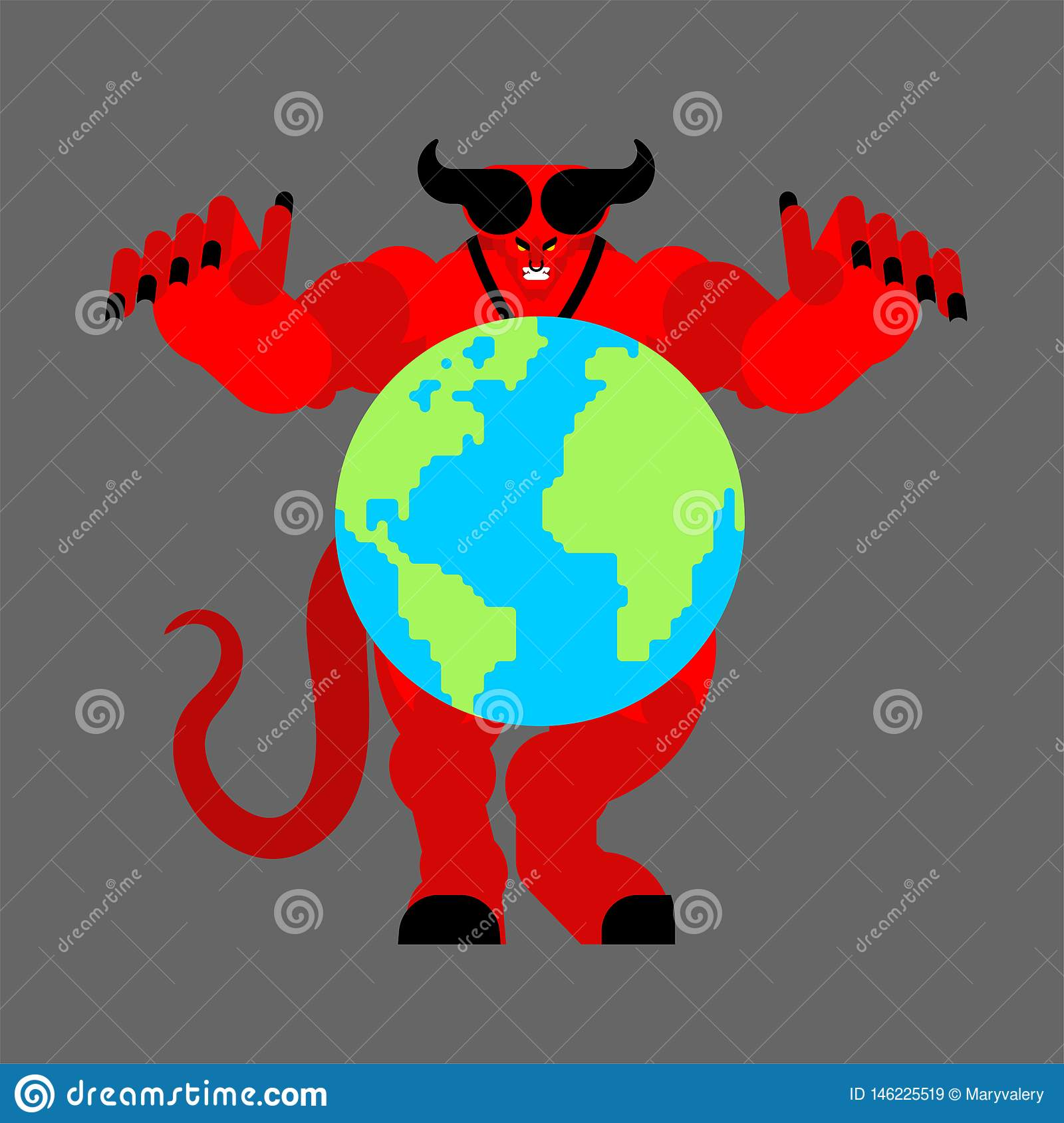 Earth in hands of demon. Devil holds planet. beginning of apocalypse. Satan and world