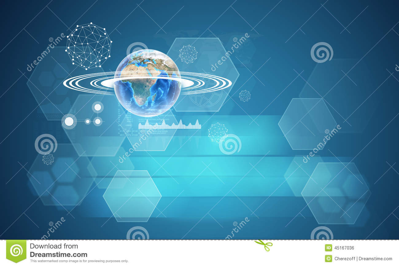 Earth With Hexagons, Graphs And Wire-frame Spheres Stock Photo ...