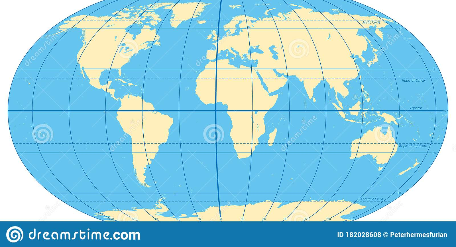 Picture of: World Map With Most Important Circles Of Latitudes And Longitudes Stock Vector Illustration Of Longitude Circle 182028608