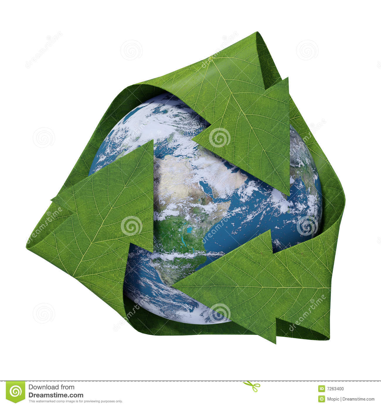Earth inside a recycling symbol