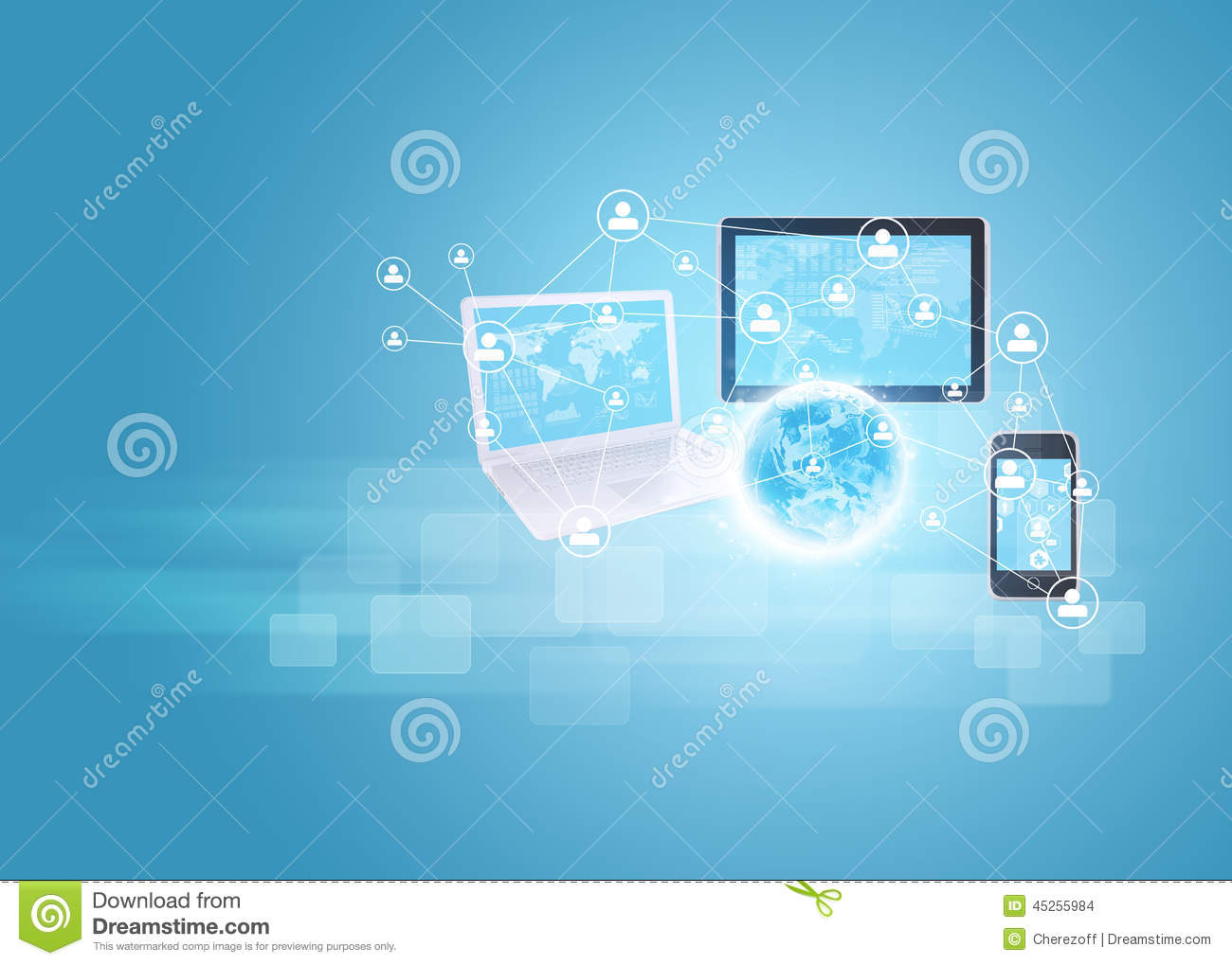 Earth With Laptop, Tablets And Smartphone Stock Photo ...