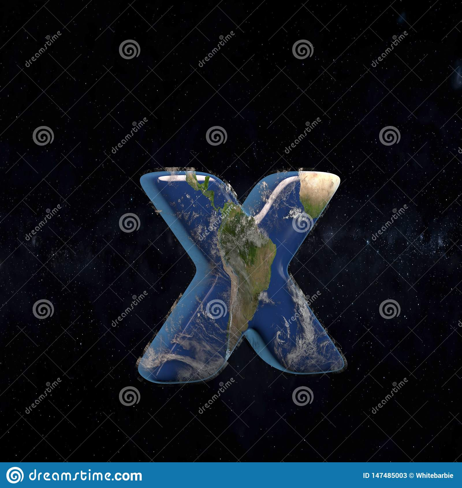 Earth lowercase letter X isolated on dark space background