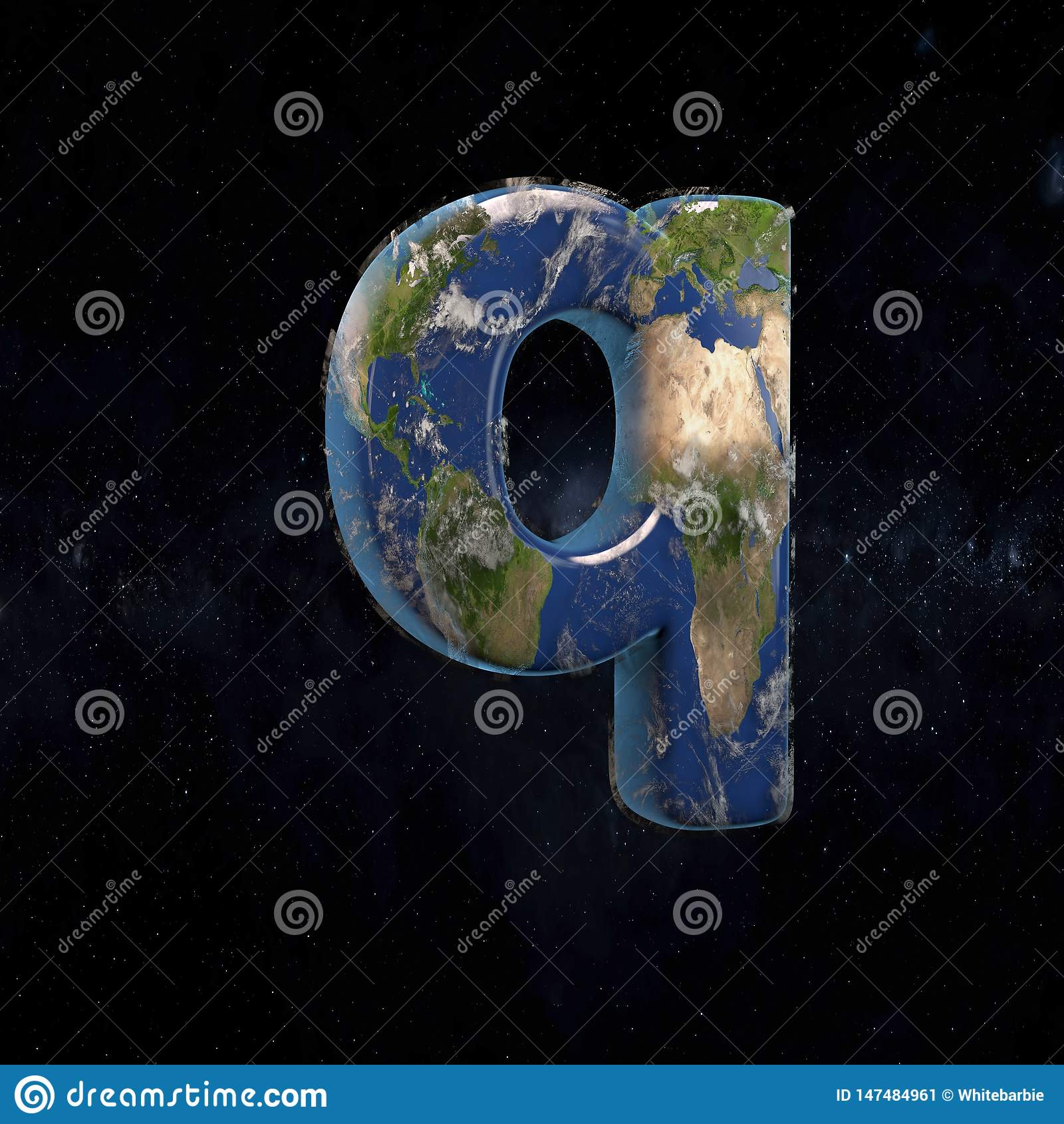 Earth lowercase letter Q isolated on dark space background