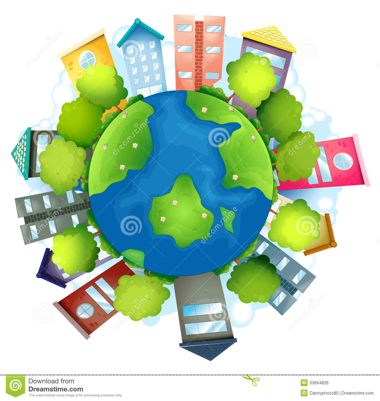Natural Resources Clip Art : The earth with man made buildings and natural