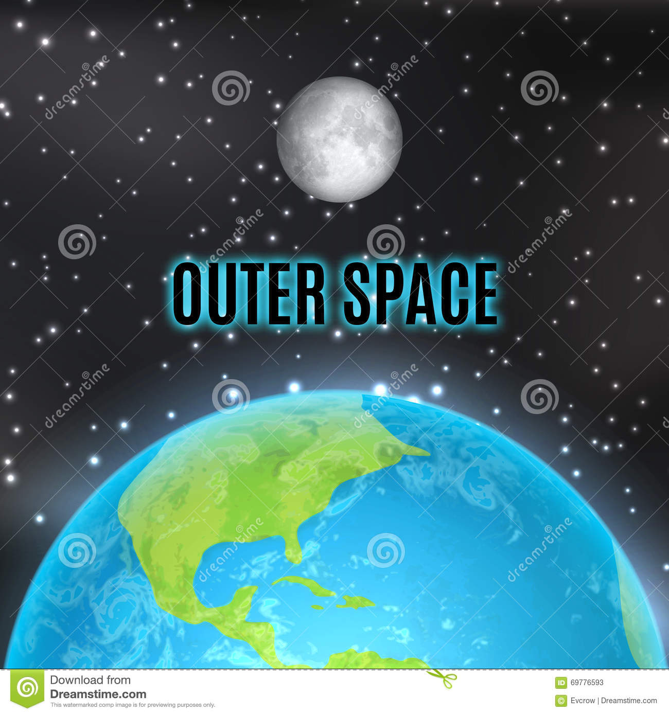 Earth and moon stock vector image of land night for Outer space elements