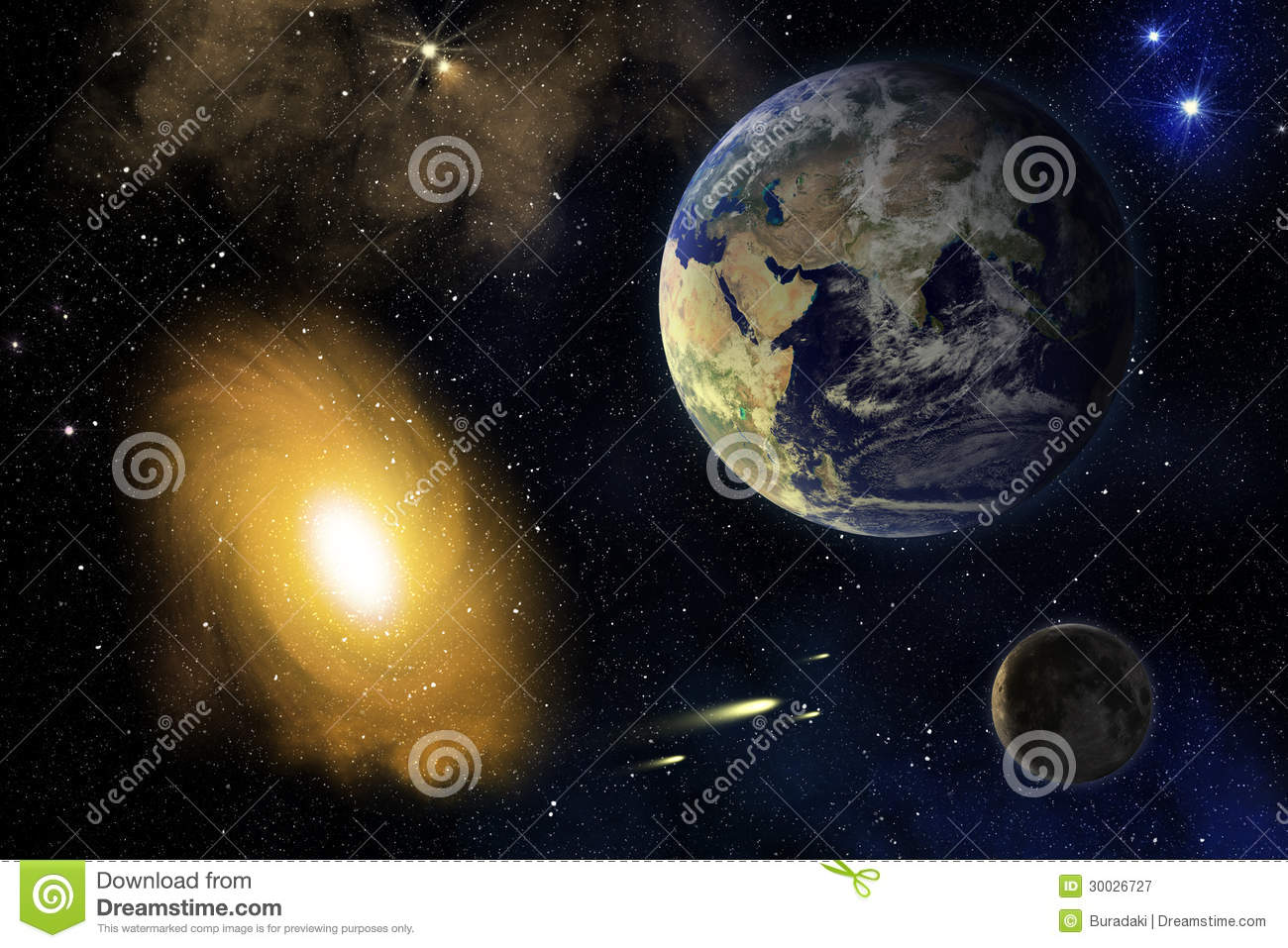 Earth moon and galaxy royalty free stock photography for Outer space elements