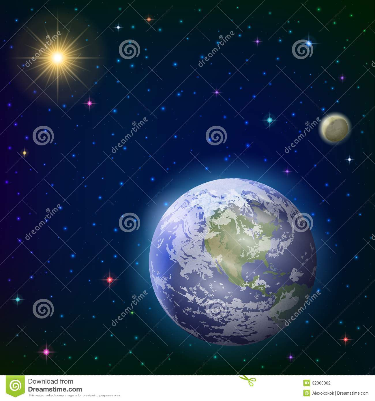 Earth, moon and sun stock vector. Image of astronomy ...