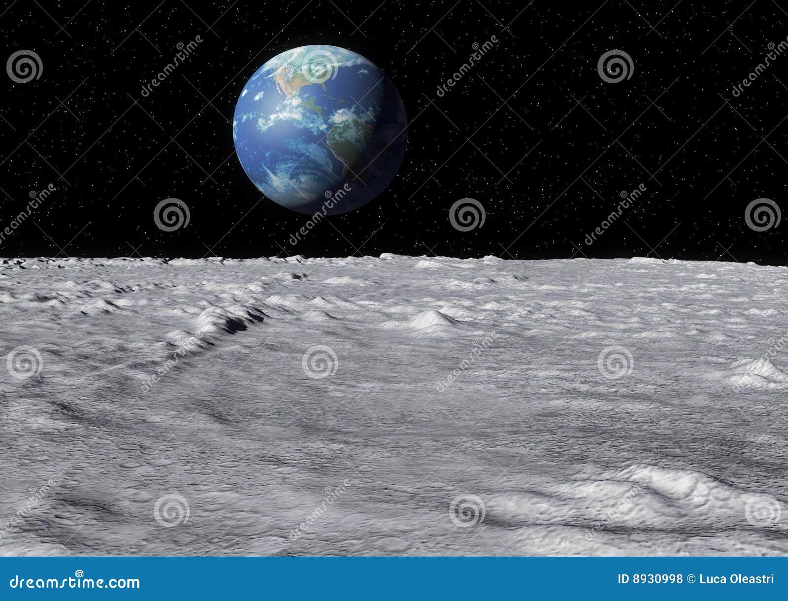 Earth moon surface
