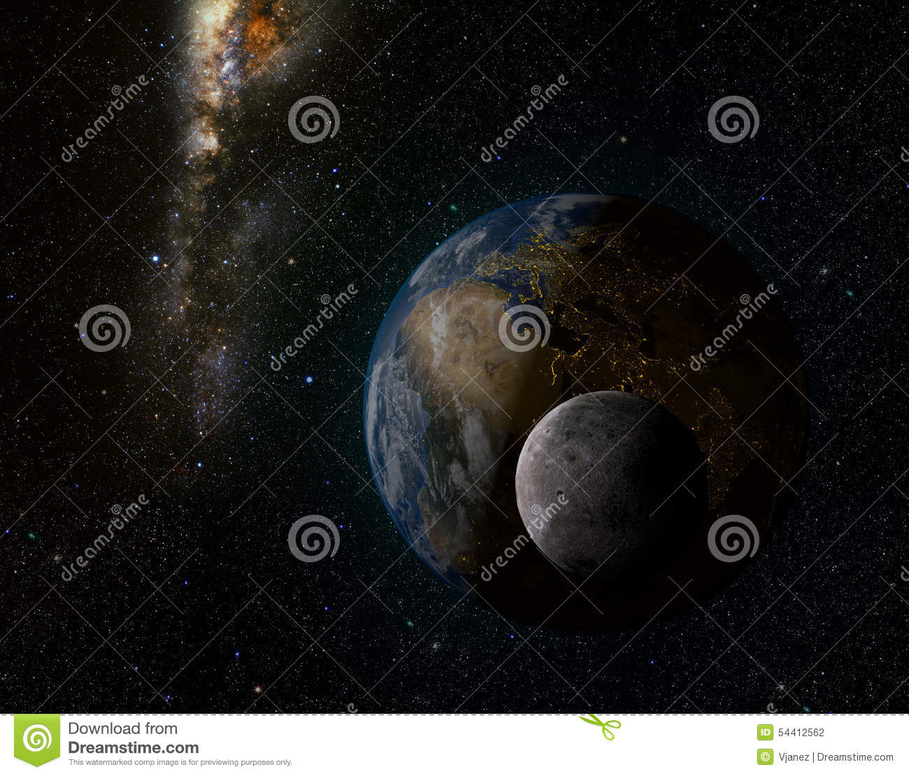 Earth And Moon Stock Photo - Image: 54412562