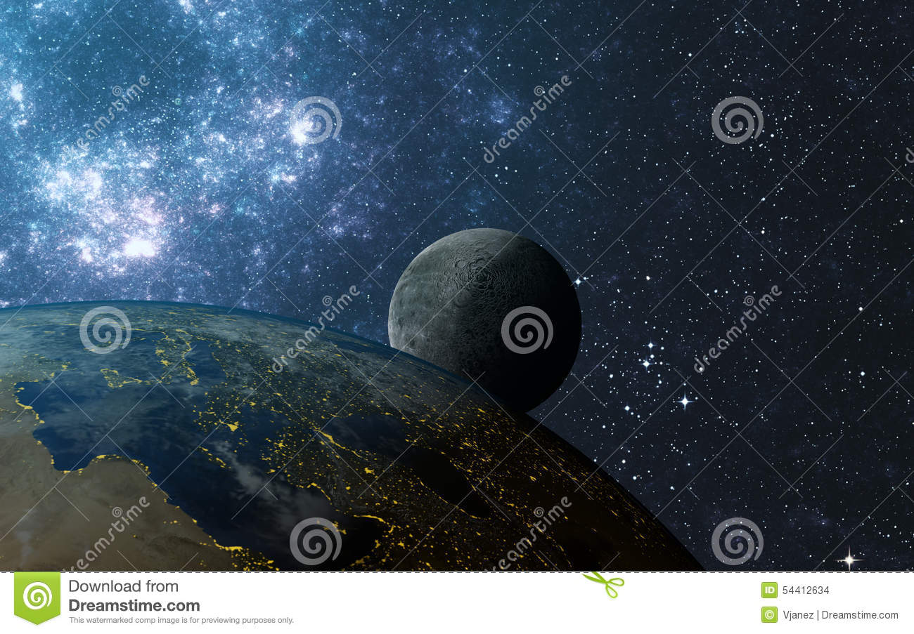 Earth And Moon Stock Photo - Image: 54412634