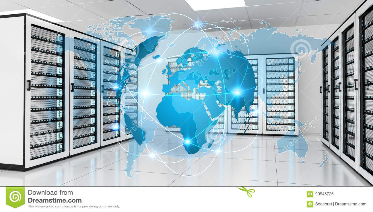 Earth Network Flying Over Server Room Data Center 3D Rendering Stock