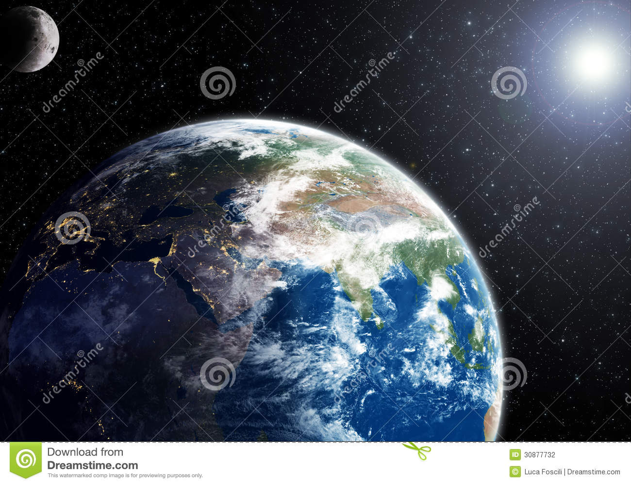 Earth between night and day moon and sun nasa maps for 3d map of outer space