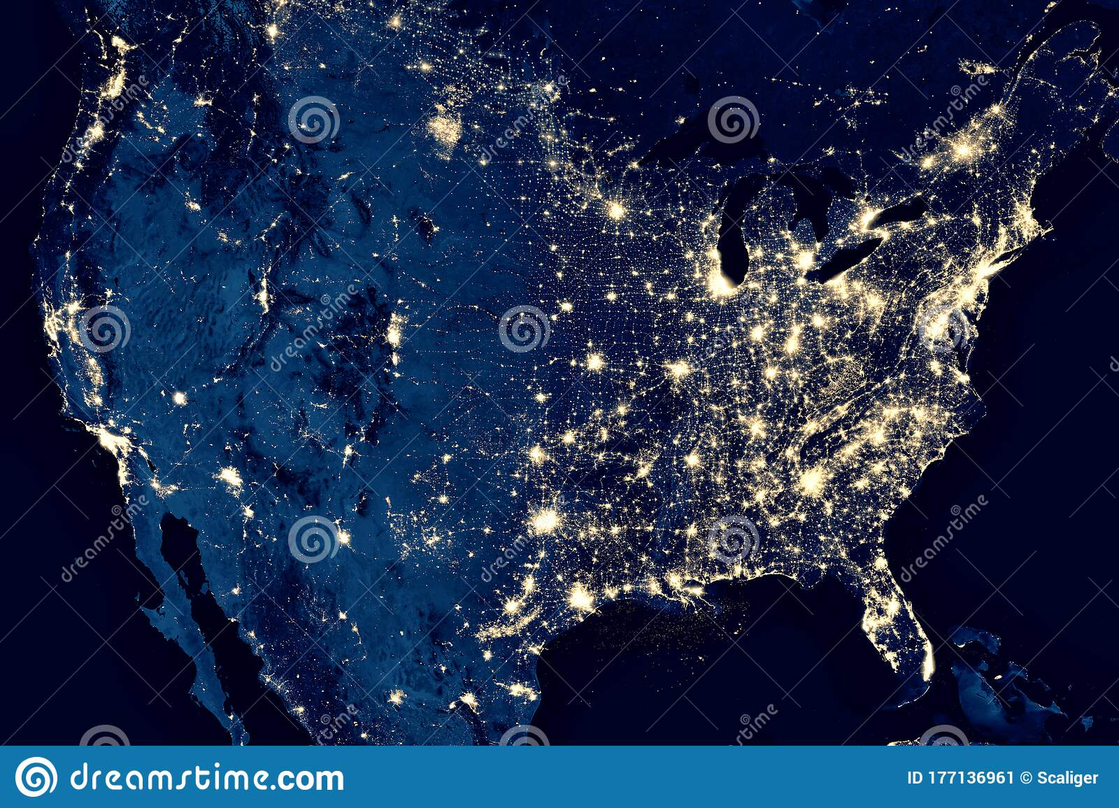 Picture of: Earth At Night View Of City Lights In United States From Space Usa On World Map On Global Satellite Photo Us Terrain On Dark Stock Image Image Of Energy Orbit 177136961