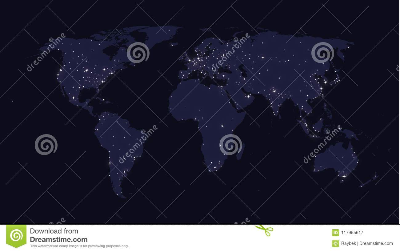 Earth at night world map stock illustration. Illustration of america ...