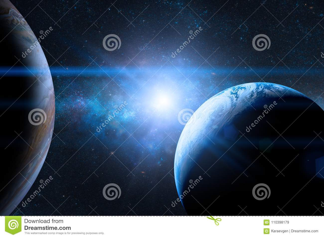 Earth in the outer space with beautiful planet. Blue sunrise.