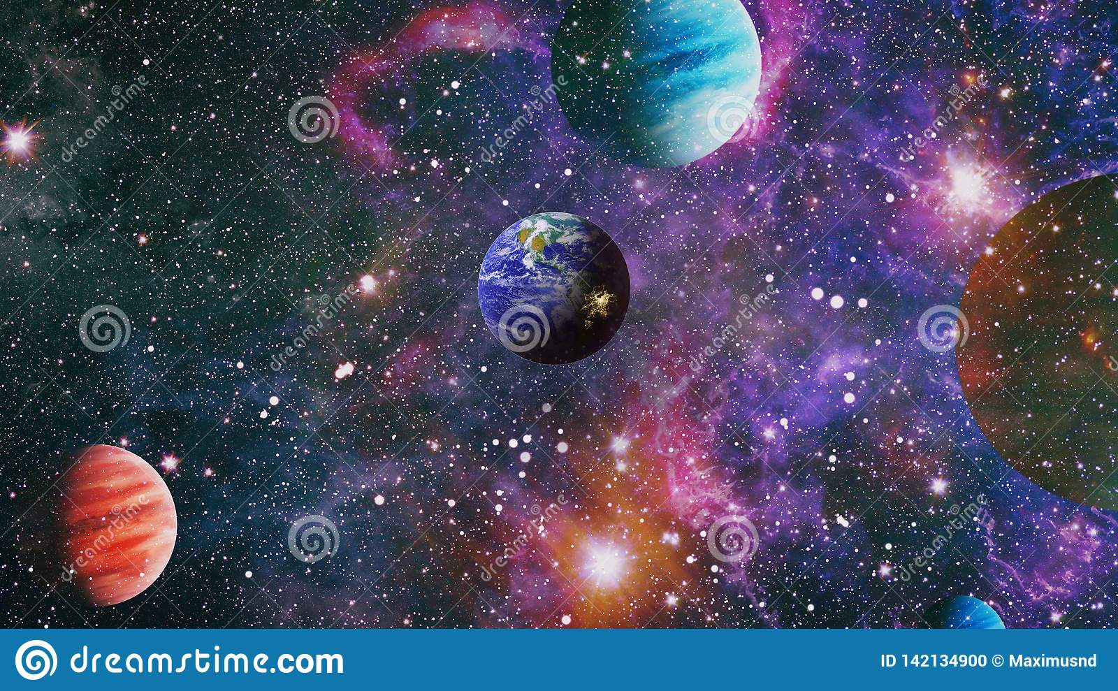 space science earth outer fiction galaxy collage planet galaxies sun illustration preview