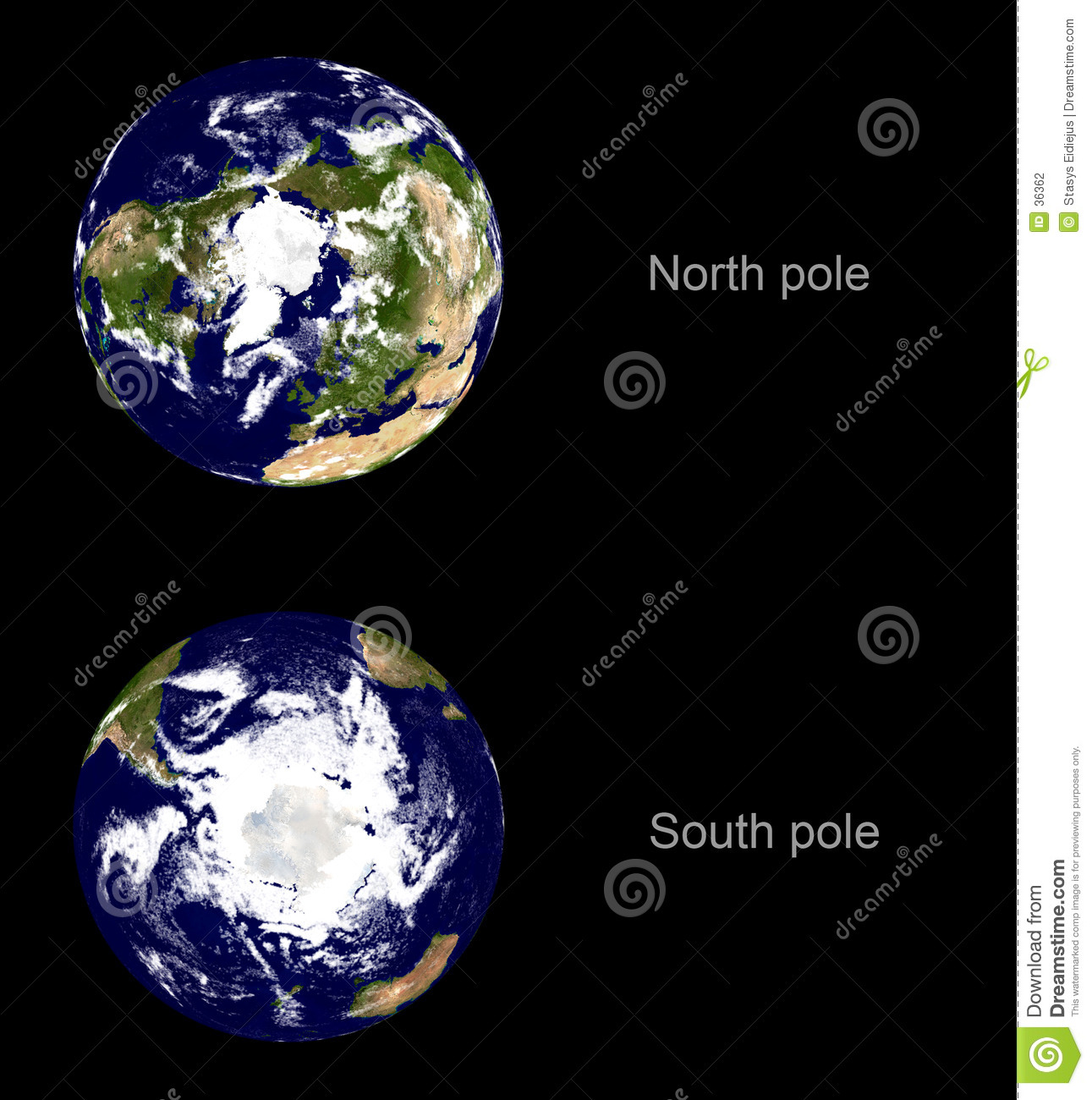 Earth planet, both poles