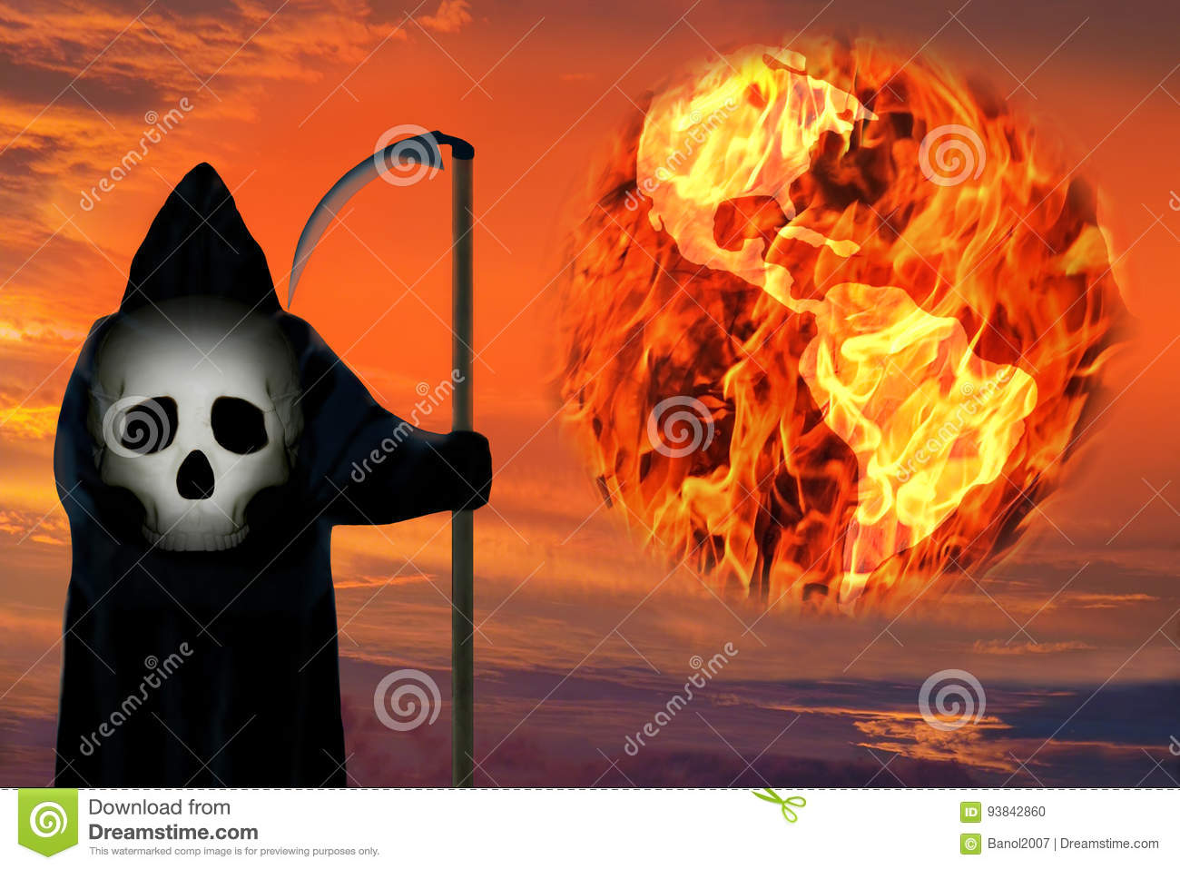 Death figure. Earth planet in fire. Global catastrophe.