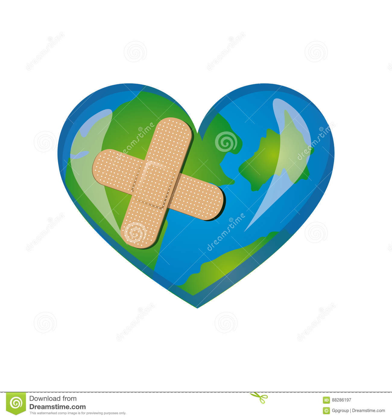 earth planet heart with band aid icon stock illustration