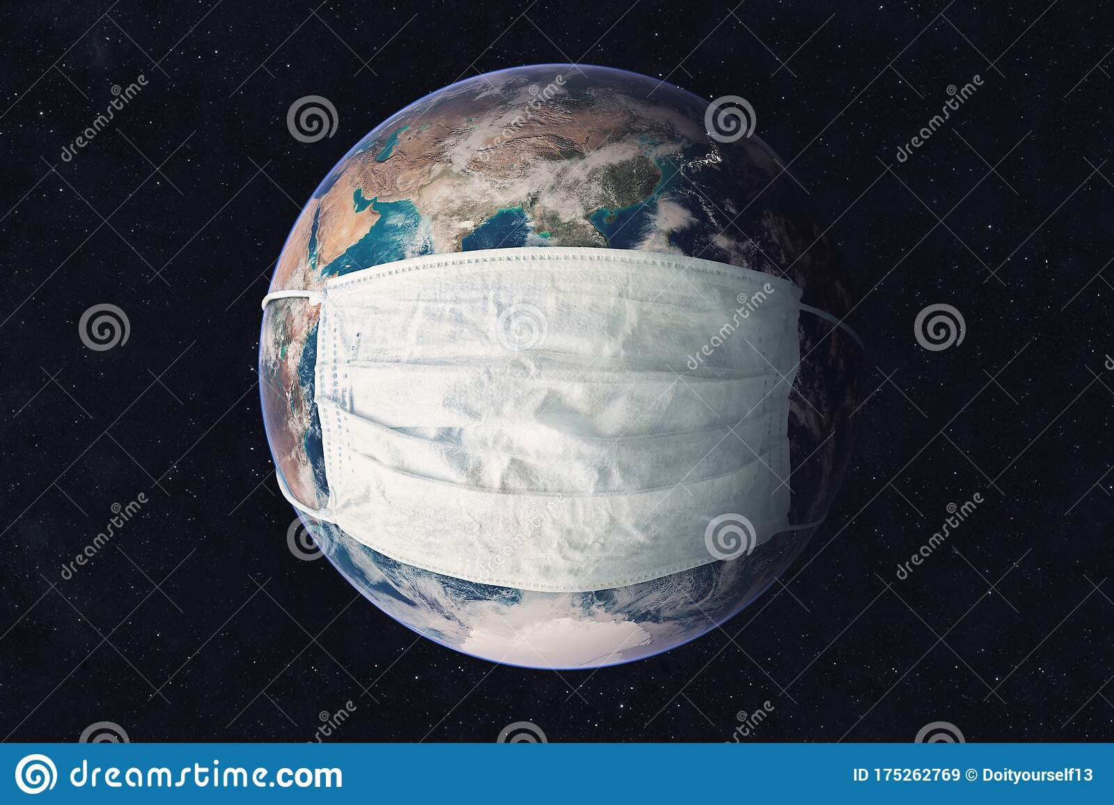 Earth Planet In Medicine Mask Fight Against Corona Virus. Concept ...