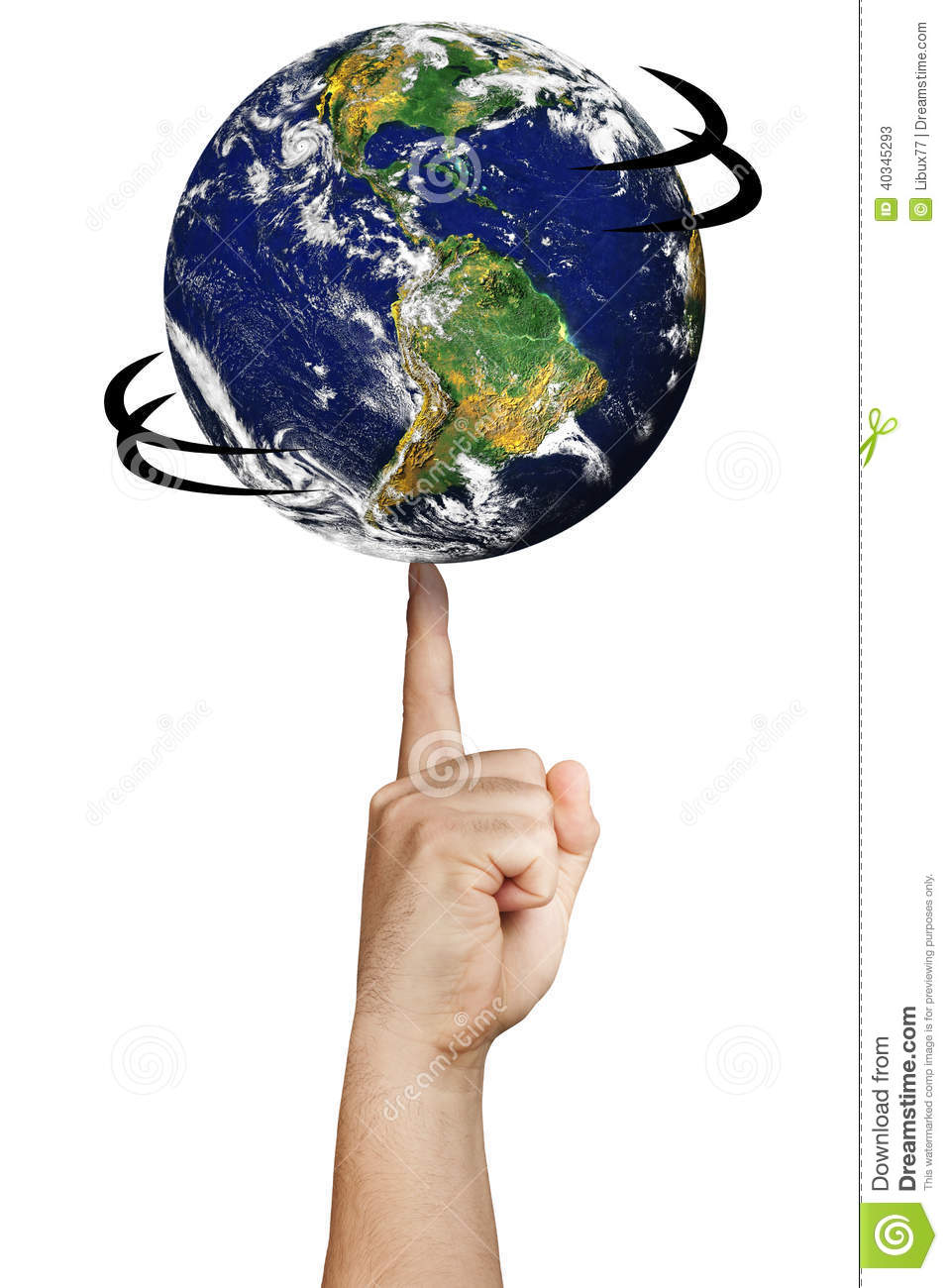 Earth Planet World Spinning Finger Hand Isolated