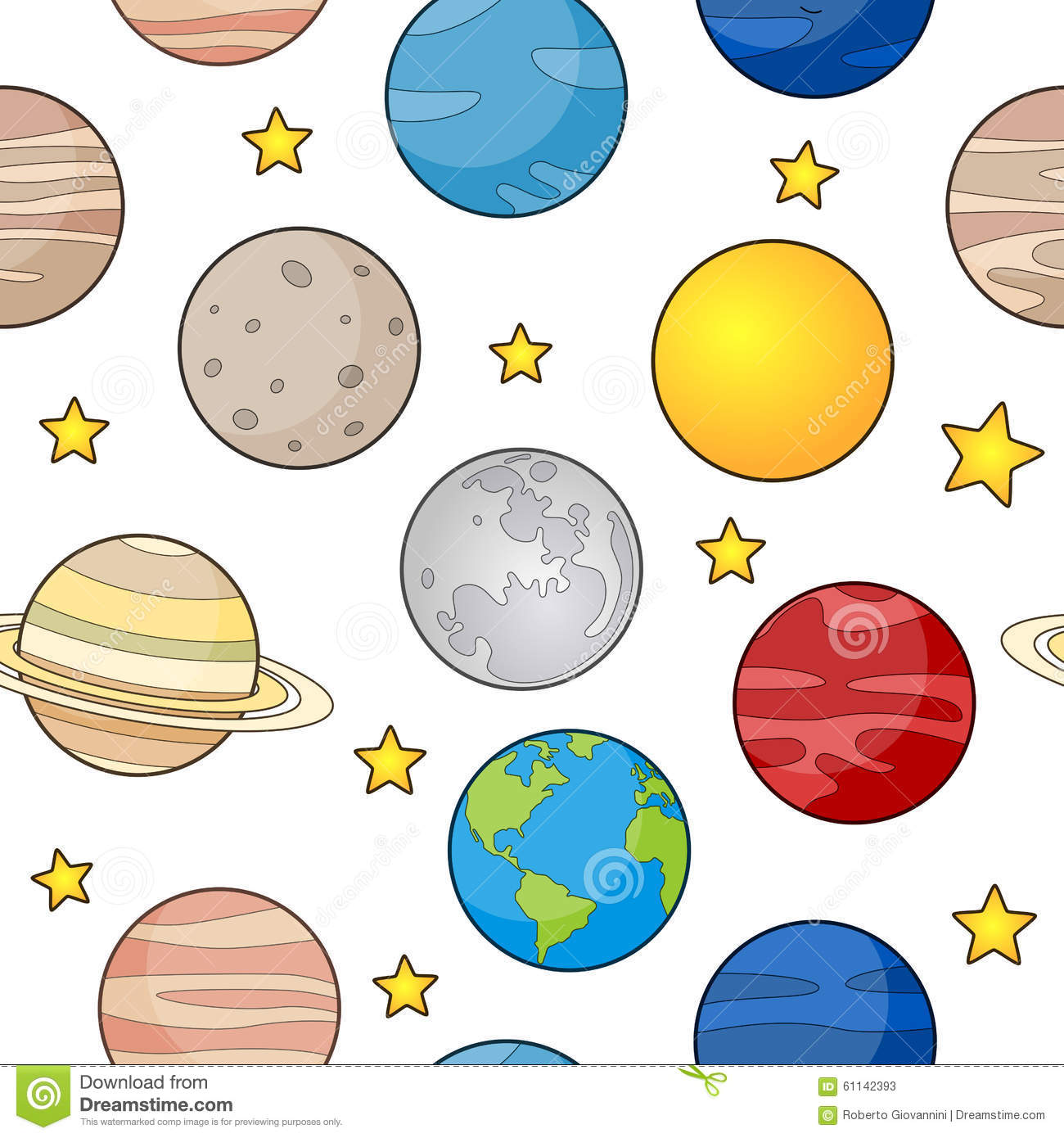 Earth And Planets Seamless Pattern Stock Vector ...
